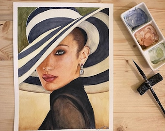Custom hand-painted watercolor portraits on 300gm sheet of paper