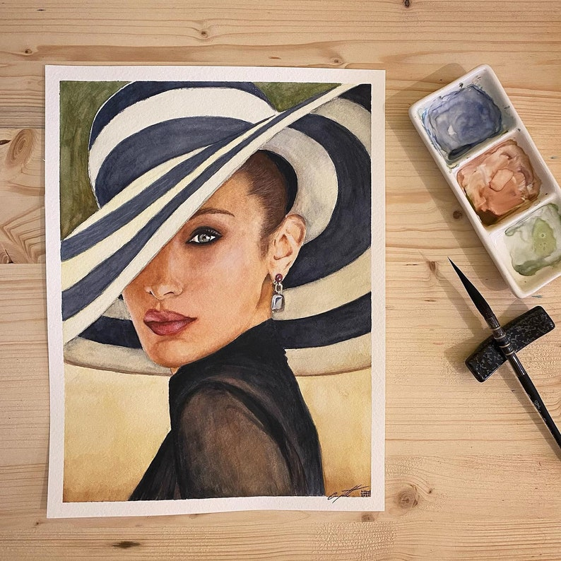 Custom hand-painted watercolor portraits on 300gm sheet of image 0