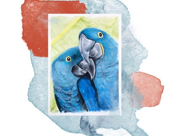 Parrot Pair   Watercolor on paper   one-piece   Original Watercolor Painting