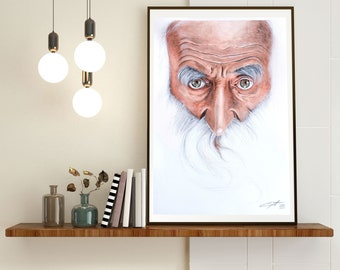 Old Wise   Watercolor on   unique piece   Original Watercolor Painting