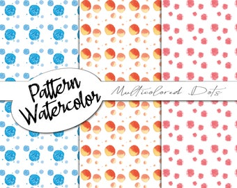 Multicolored Dots | digital pattern, digital paper, watercolors, birth, party, stars, feathers, flowers, scrapbooking, digital, dots, dots