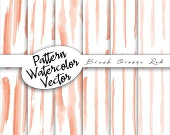 Vector orange brushstroke pattern | Watercolor digital cards, paper pack doodles, scrapbooking, commercial use,