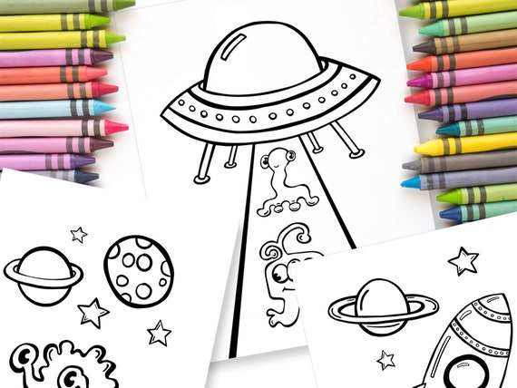 Outer Space Coloring Sheet Set Aliens And Rocket Ships Etsy