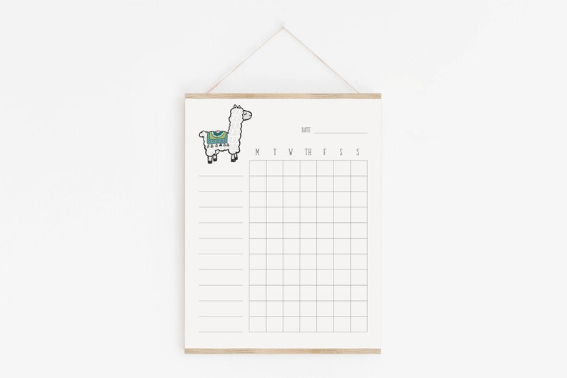 photo regarding Blank Chore Charts Printable identify Llama Chore Chart, Customizable, Printable, Blank Chore Chart, Keep an eye on Checklist, Reason Tracker, Function Atmosphere, Weekly Tracker, Reason Chart