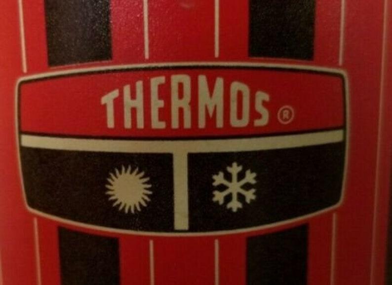 Vintage 1970s Thermos Quart Size Red Black Pattern Retro MCM GUC Original Work Gear Lunch Break