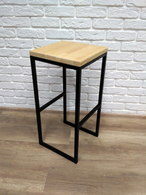 Groovy Bar Stool Industrial Style Barstool Wood And Metal Chair Bralicious Painted Fabric Chair Ideas Braliciousco