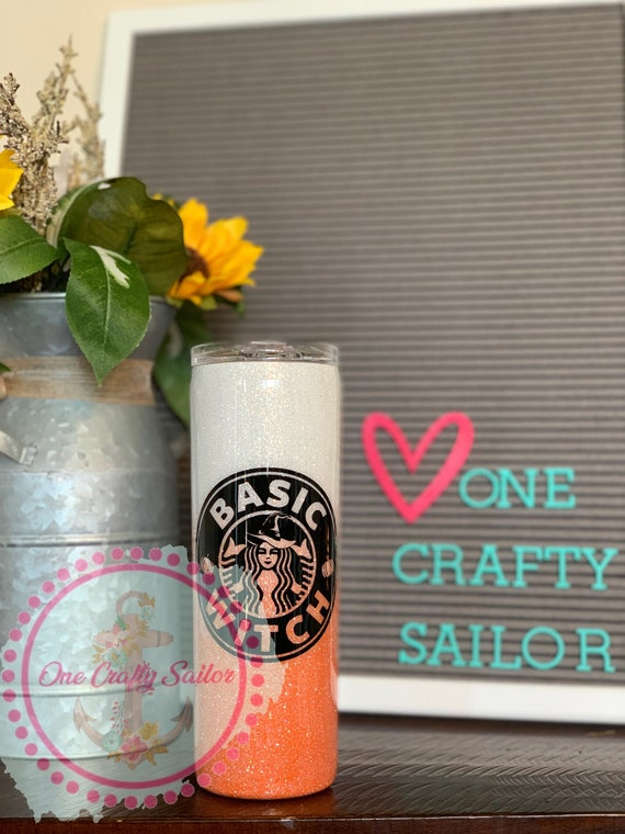 Witch cute custom glitter ombr\u00e9 tumbler Halloween gift for her basic witch stainless steel fall season fall accessories