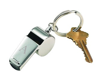#1 Referee Black 3D Laser Engraved Whistle Key Chain Gift