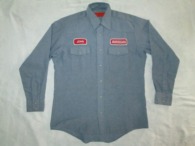 c9bdb6f6cb8 Vintage chambray work shirt red kap