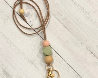 Teacher Badge lanyard, minimalist lanyard, lanyard necklace, lanyard keychain, beaded lanyard