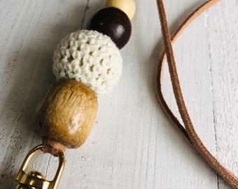 Leather lanyard, wood beaded lanyard necklace, boho lanyard necklace, crochet necklace lanyard for teacher or employee, breakaway lanyard