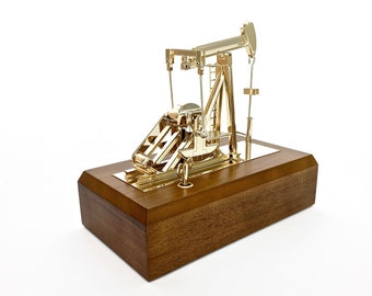 oilfield gift pump jack music box scale model gold plated office decoration trophy award