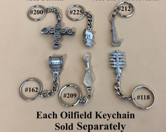 oilfield keychains key ring oilfield gifts for roughnecks oil and gas workers awards jewelry drill bit oilfield trash derrick drill rig
