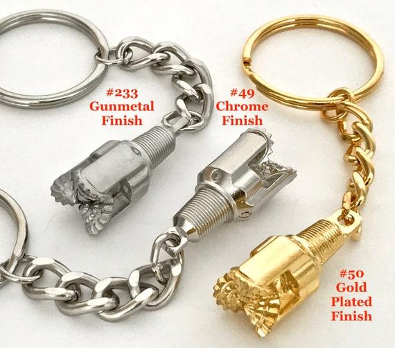 Oilfield Derrick clock gold drill rig model gift oil well bit keychain sticker