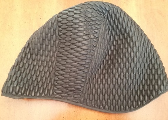Vintage Swim Cap Bathing Cap Black Rubber? Texture