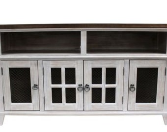 farmhouse style solid wood tv stand distressed white - Distressed White Tv Stands