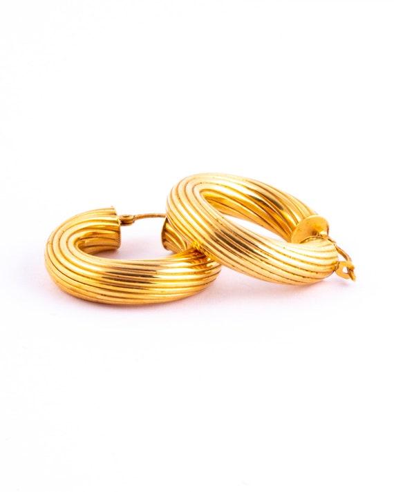 Vintage 9 Carat Gold Twist Hoop Studs