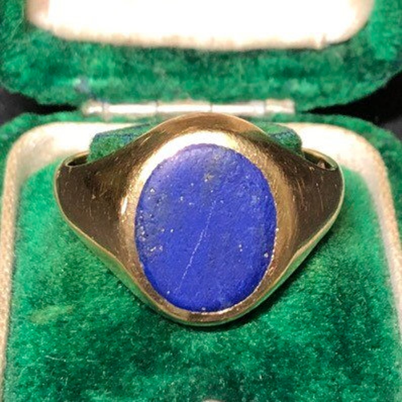 Vintage 9 Carat Gold Lapis Signet Ring