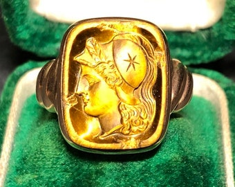 Victorian Tigers eye intaglio ring