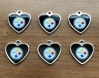 0b4c8b0f Wholesale lot set of 6 NFL Pittsburgh Steelers black white colored enamel  Silver Heart Charm Pendants DIY football fan bead bracelet jewelry