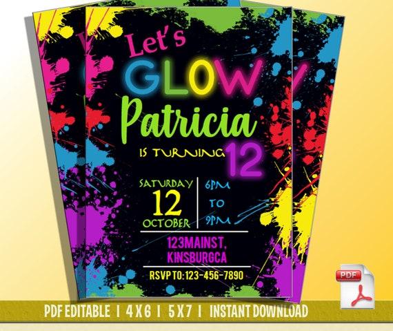 Lets Glow Party Invitation Dance Party Birthday Invitation Etsy