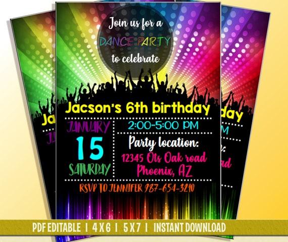 dance party invitation dance party birthday invitation dance etsy