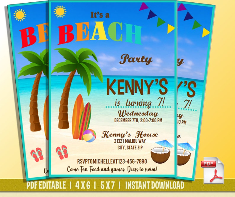 Beach Party Invitations Theme Pink