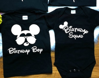 Birthday Boy Mickey Minnie Disney Vacation Group Shirts Newborn 5x Fitted Or Unisex Style Can Customized With A Name On The Back Of Shirt