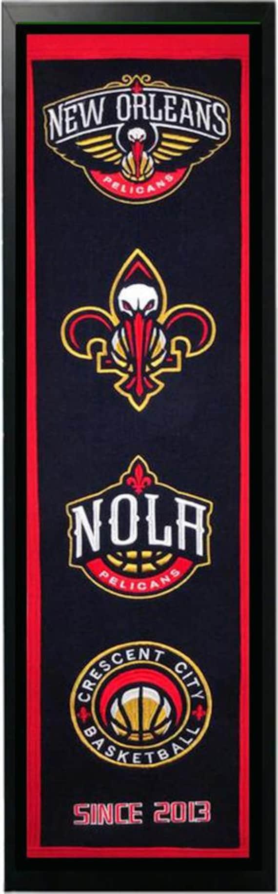 New Orleans Pelicans Logo History Felt Banner Frame 14 X 37 Etsy