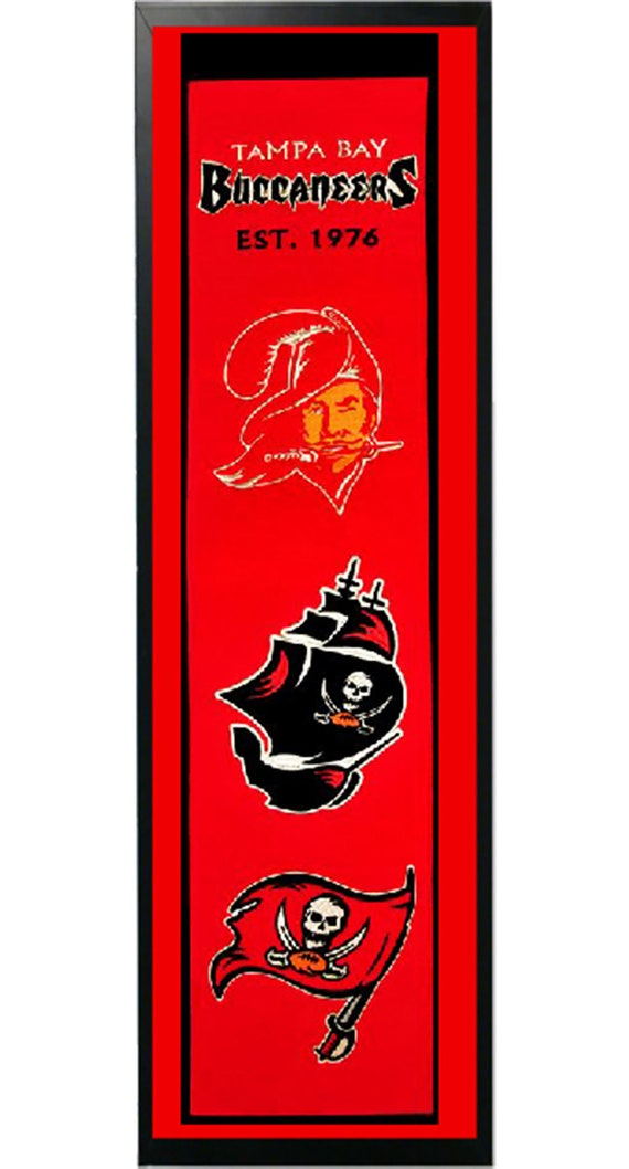 tampa bay buccaneers logo history felt banner 14 x 37 framed etsy etsy