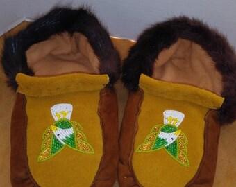 7133692f47f0e Commercial moose hide moccasins | Etsy