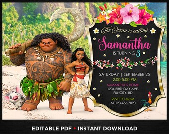 Moana Birthday Invitation Instant Download Printed For Girls Editable Party Princess Invite