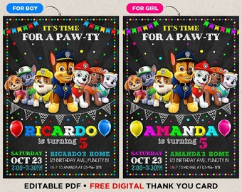 Paw Patrol Birthday Invitation Party Invite Printable File Printed
