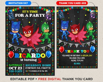 PJ Masks Birthday Invitation Pj Party Instant Download Personalized