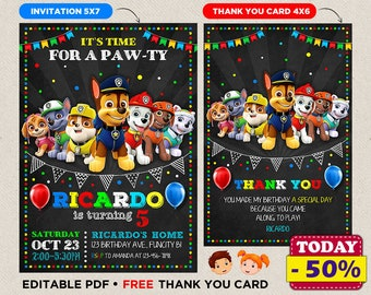 Paw Patrol Birthday Invitation Party Invite Printable File Printed