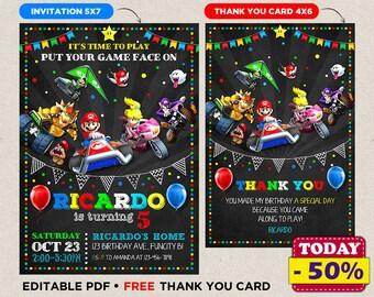 Mario Kart Invitation Mario Kart Digital File Super Mario Printable Invitation Birthday Party Luigi Mario Custom Card Instant Download