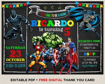 Superhero Birthday Invitation Avengers Instant Download Boy Party