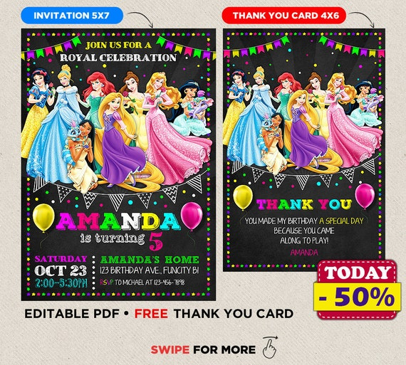 Disney Princess Invitation Birthday Party Personalized Invite Invitations For Girls Digital
