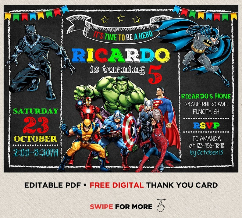 Superhero Birthday Invitation Avengers
