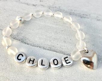 Custom Name Bracelet Beaded, Unicorn Gifts for Girl, Personalized Jewelry Mom, Custom Charm Bracelet, Christmas Bracelet, Stocking Stuffer