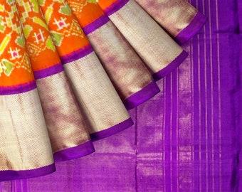 a61e59b424 Orange & Lavender Ikkat Pochampally Silk Saree from Yes!poho