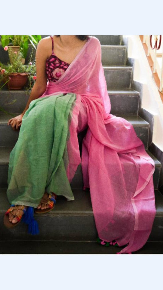 Light Green With Baby Pink Linen Saree From Yespoho Etsy