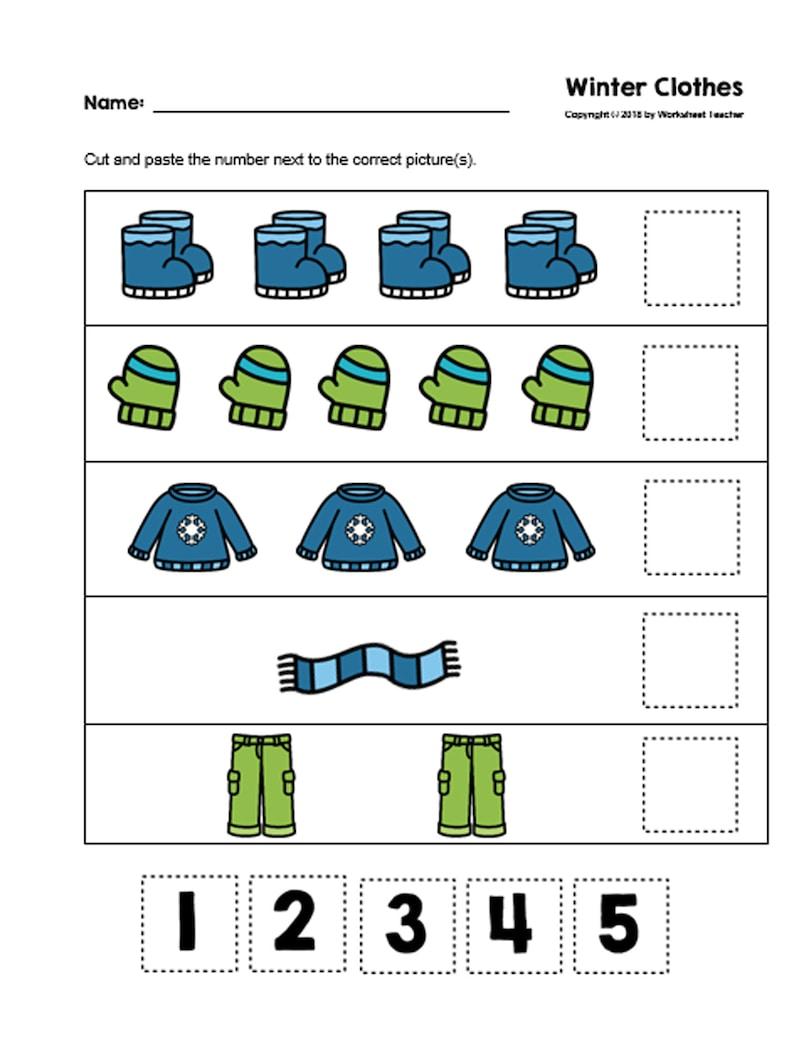30 Cut and Paste Numbers 1-5 Printable Worksheets ...