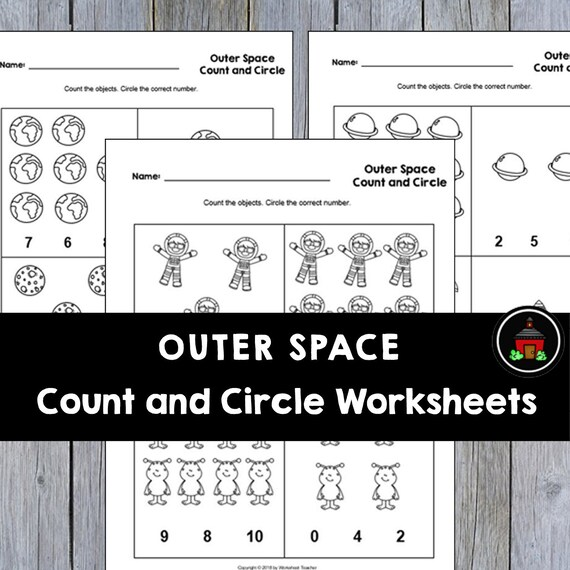 4 Printable Outer Space Count And Circle Numbers 0-10 Etsy
