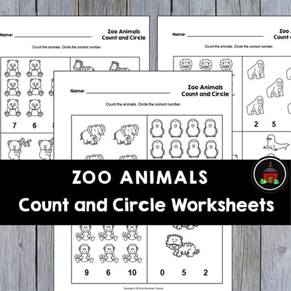 4 Printable Zoo Animals Count And Circle Numbers 0-10 Etsy