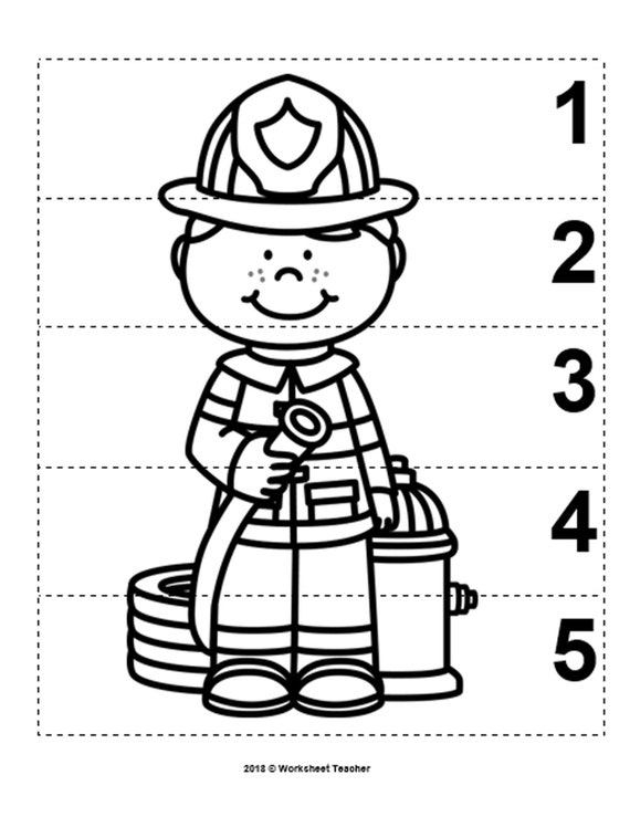 10 Community Helpers Number Sequence 1-5 Preschool Math B&W Picture Puzzles  PDF Digital Download