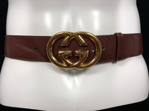 Gucci Leather Belt Gold Buckle