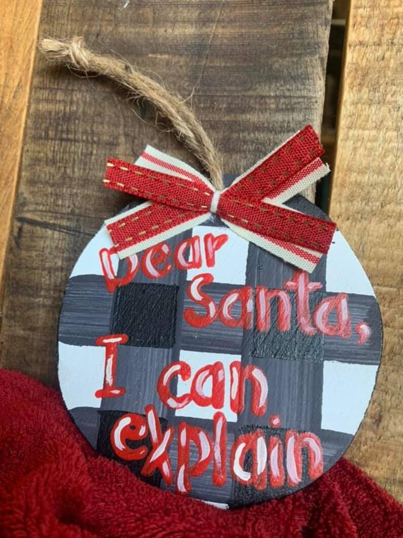 Handmade Black /& White Buffalo Plaid Christmas Ornament Santa Reclaimed Wood Rustic Old Fashioned Jute Holiday Ribbon Farmhouse Red Round