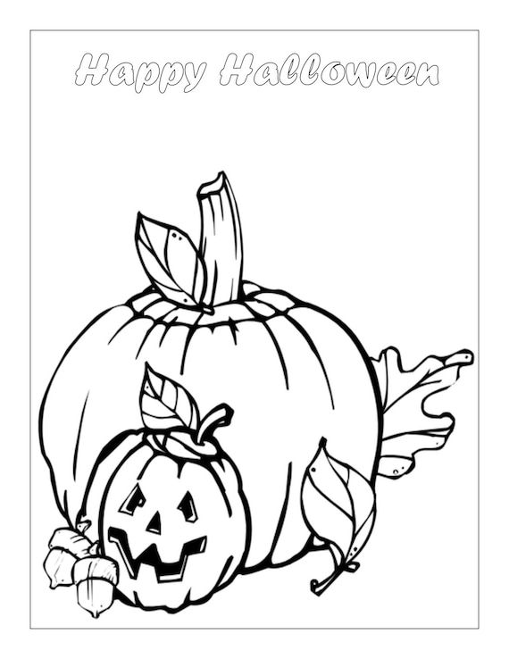 Halloween Coloring Page Kids Activity Kids Coloring Page Etsy