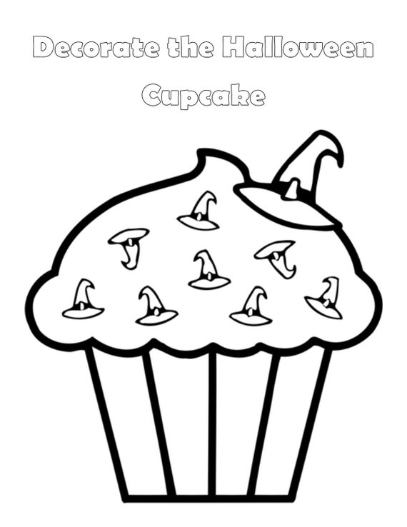 Halloween Coloring Page Cupcake Coloring Page Kids Etsy